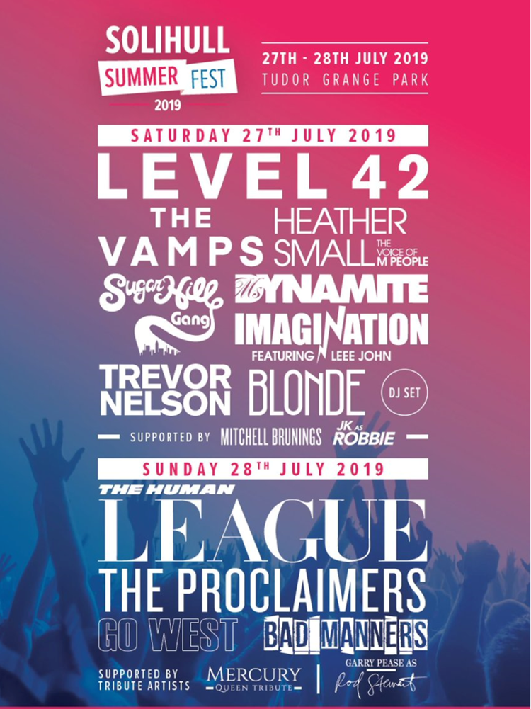 Solihull Summer Fest Line up